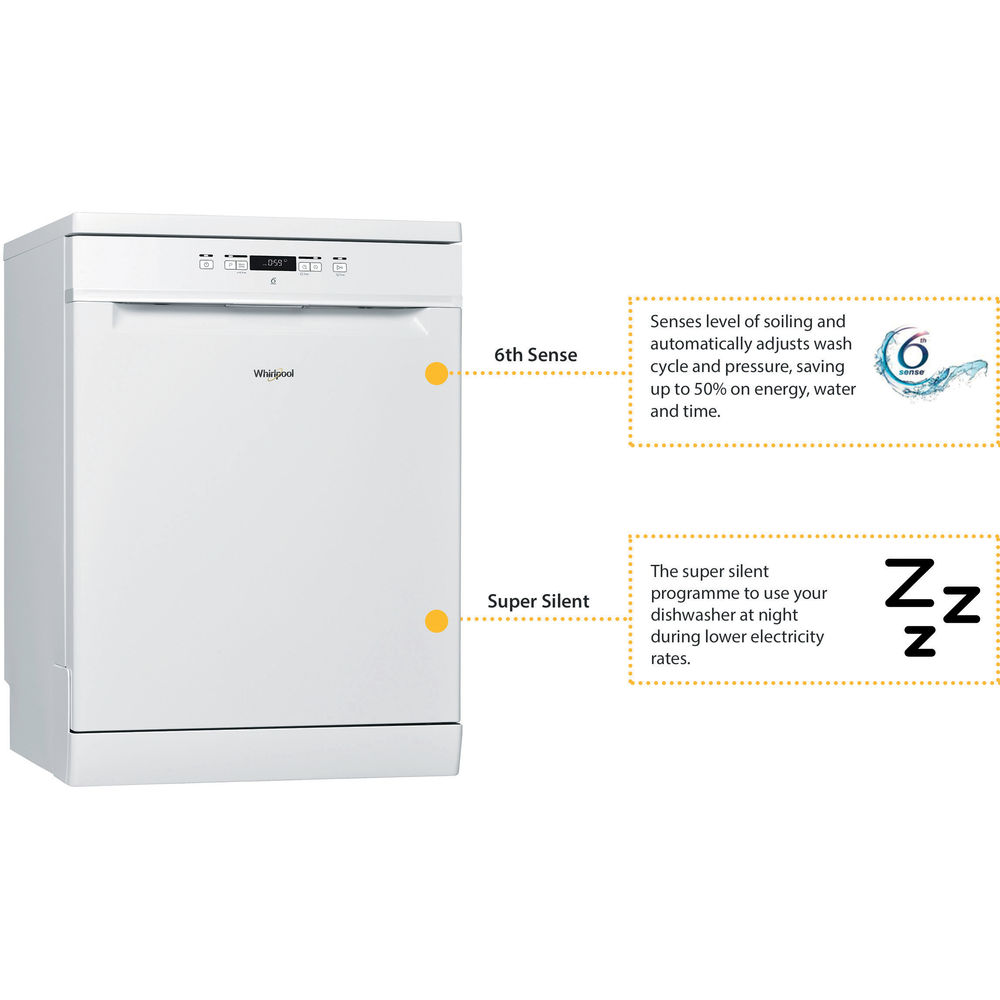 Whirlpool supreme clean dishwasher in white wfc 3c26 uk - Whirlpool power clean 6th sense notice ...