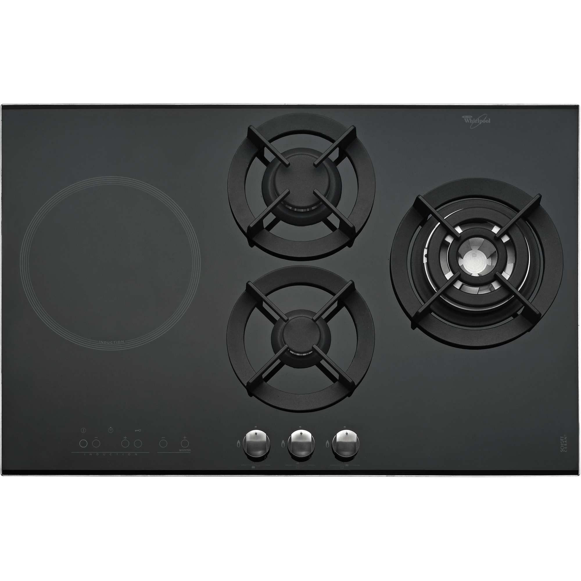 Burner Gas on Glass Induction and Gas Hob in Black AKT 477IX