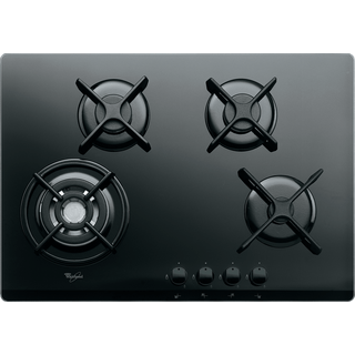 4 Burner Gas on Glass Hob with Wok Burner in Black GOR 7424/NB